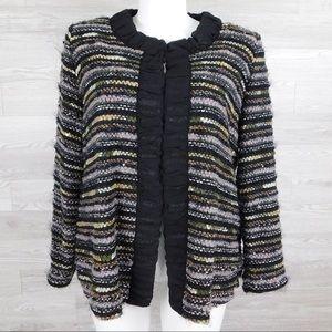 Misook Woman Multi Striped Tweed Black Trim Jacket
